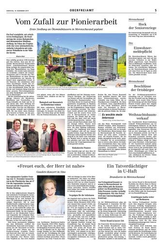 Bericht in der Oberfreiamt Zeitung vom 10. Dezember 2019