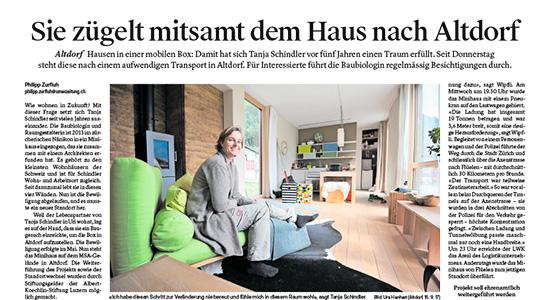 Bericht in der Luzerner Zeitung vom 19. September 2017