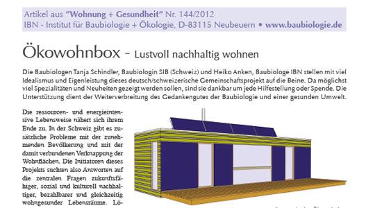 Bericht im Magazin «Wohnen und Gesundheit» 09/2012